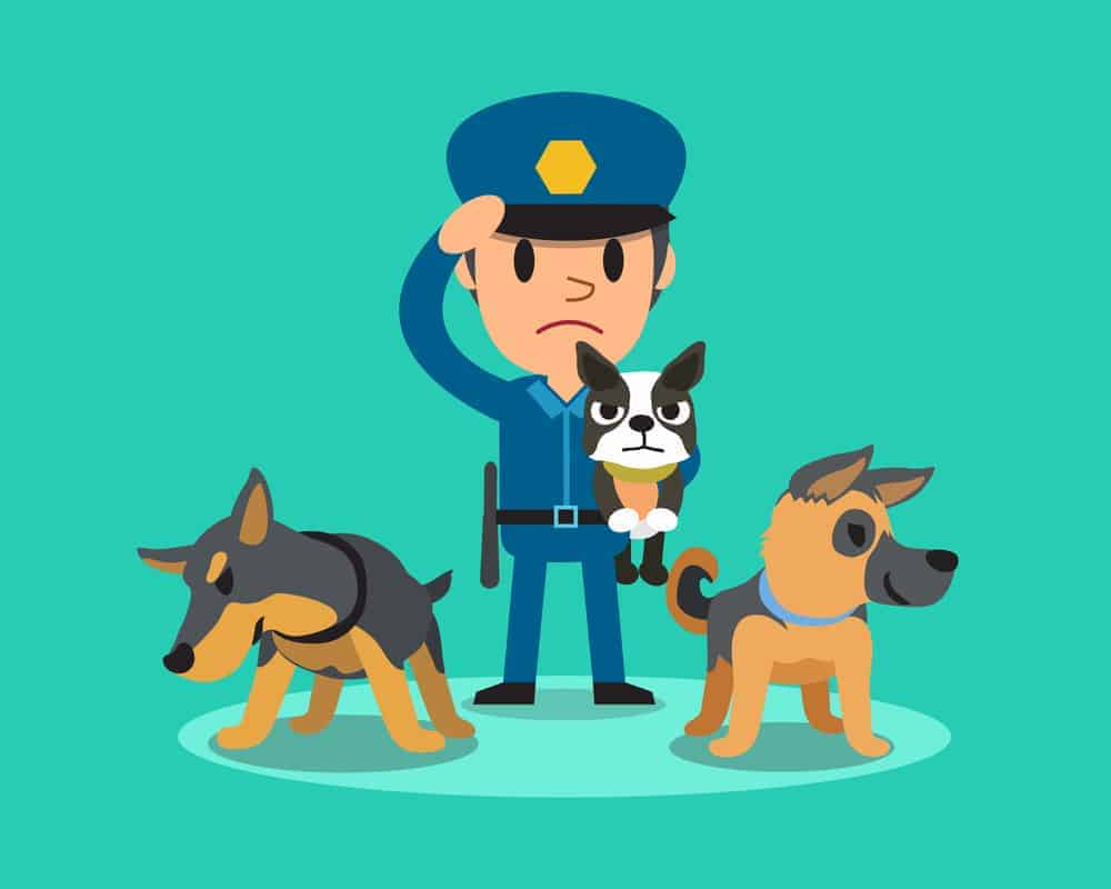 Cartoon security guard policeman with police guard dogs