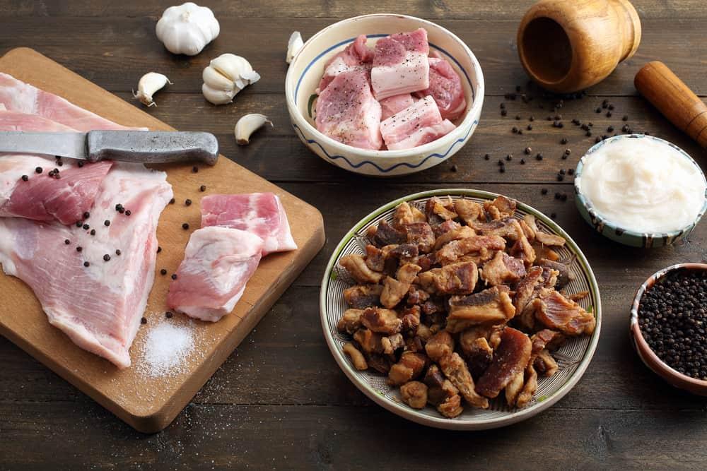 Top view Pork snack, pork rind, pork scratching, pork crackling